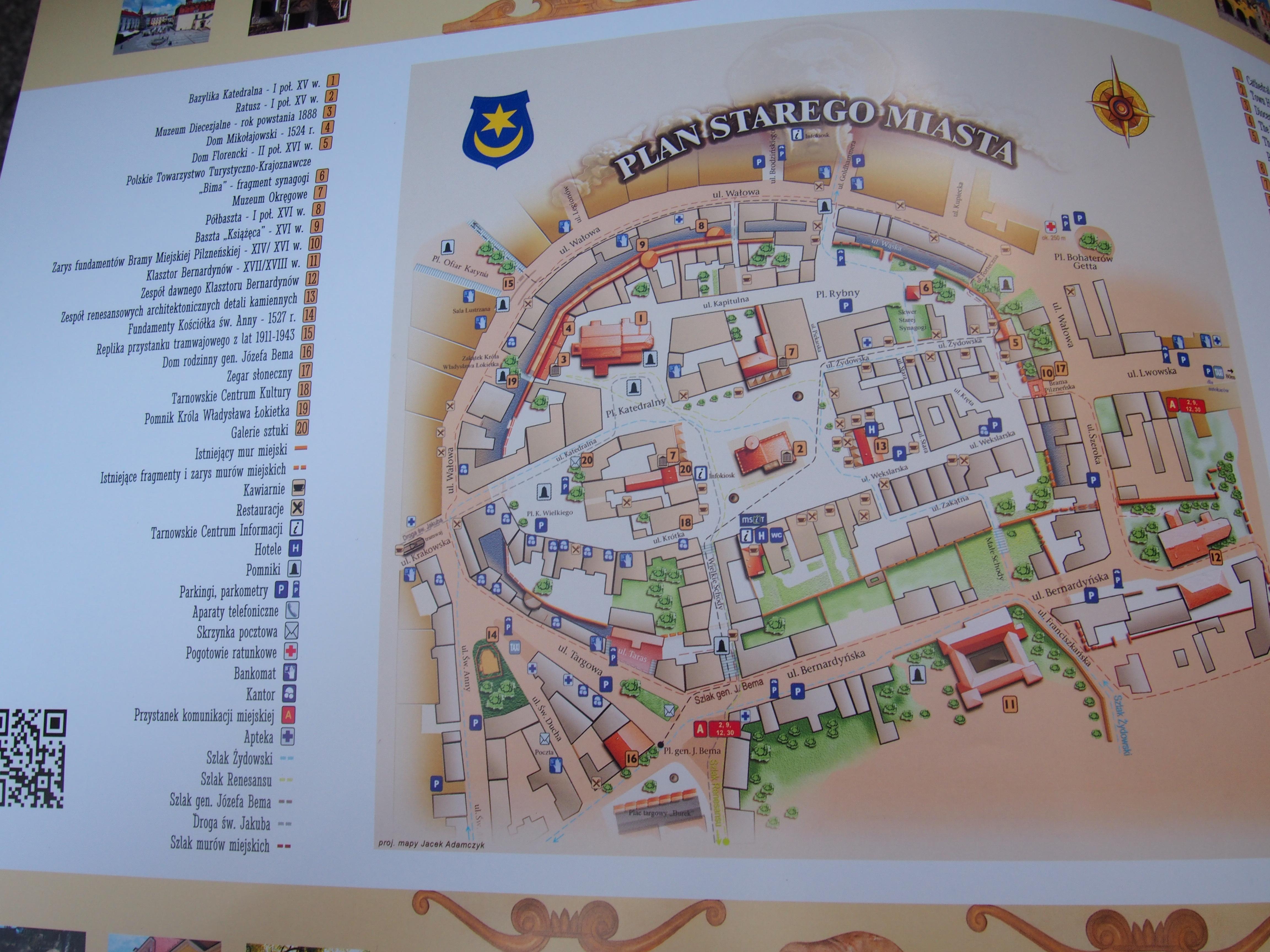 Plan starego miasta w Tarnowie - zdjęcie mapy