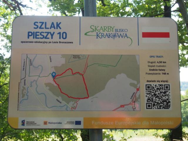 Las Bronaczowa, mapa ze ścieżką dydaktyczną