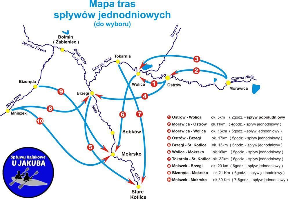 Mapa tras spływów jednodniowych po Nidzie