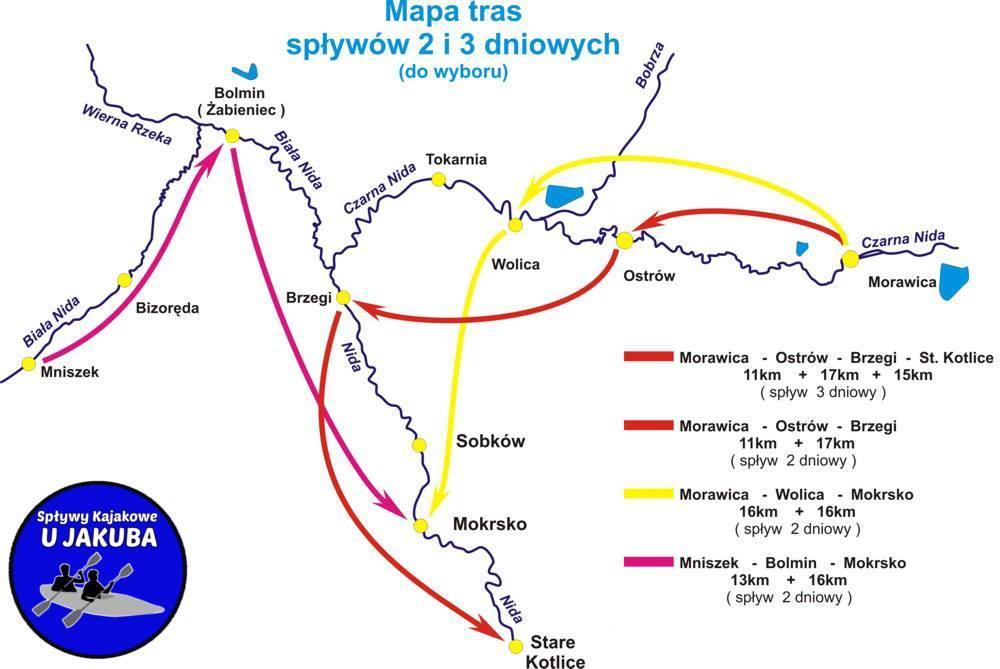 Mapa tras spływów 2 i 3 dniowych po Nidzie