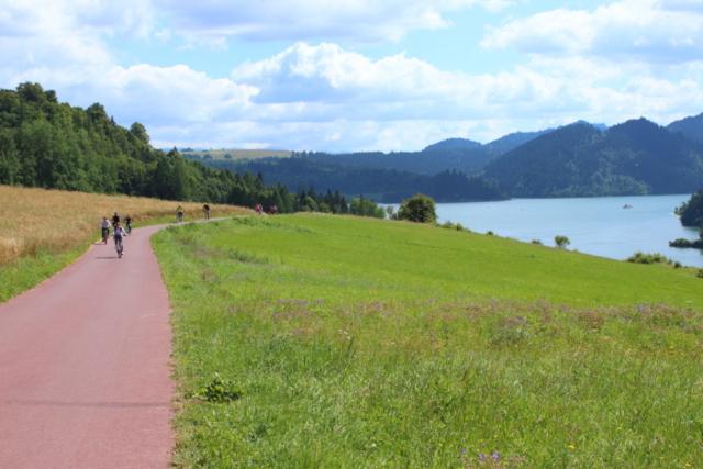 Droga rowerowa, w tle Pieniny i zbiornik Czorsztyn